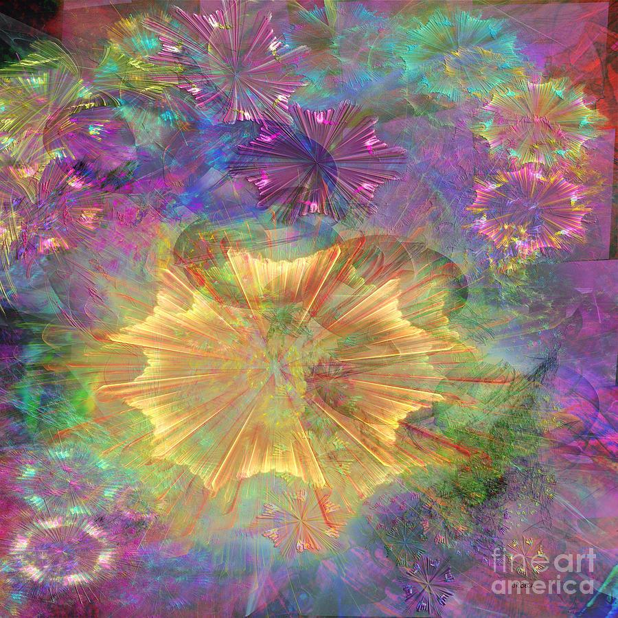 Floral Digital Art - Flowerworks - Square Version by John Beck