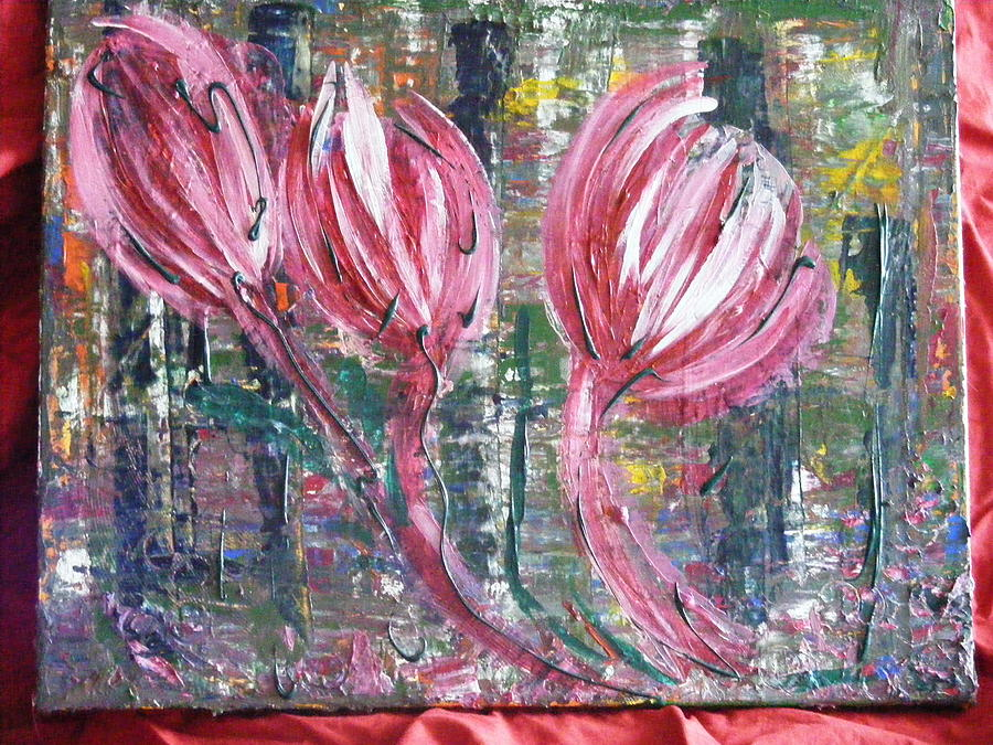 Flowers Abstract Painting - Flowing Wind by Kim St Clair