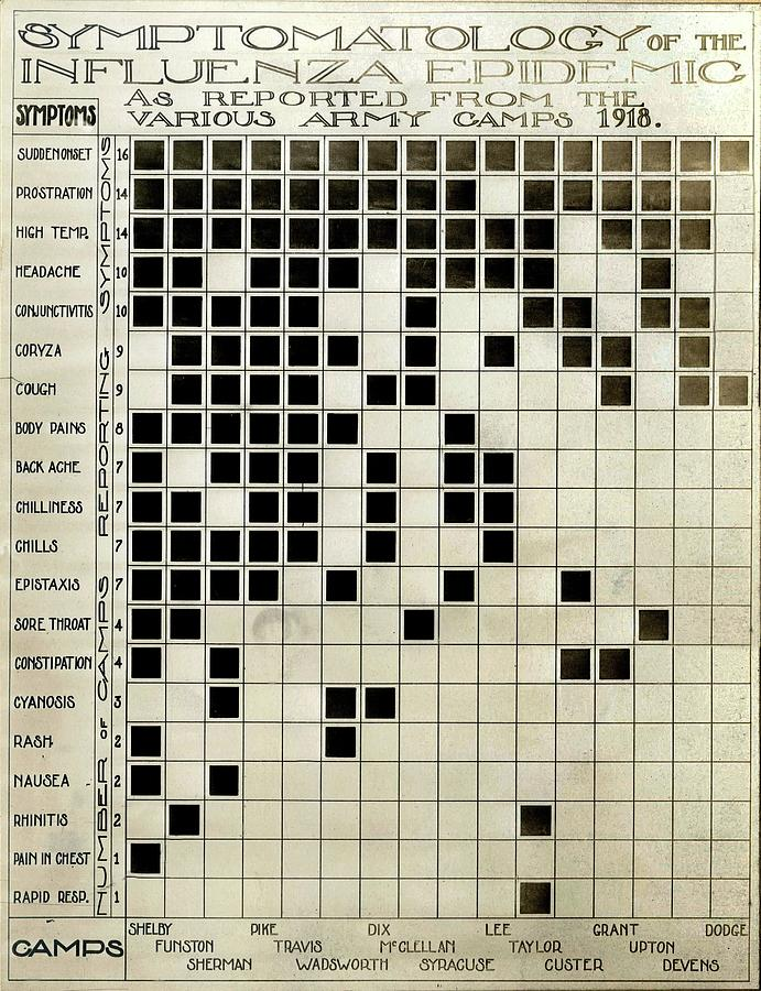 Symptom Photograph - Flu Symptoms Chart by National Museum Of Health And Medicine/science Photo Library