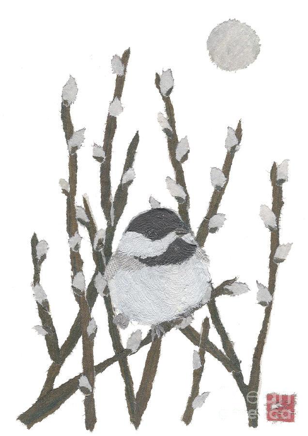 Chickadee Painting - Chickadee Art Hand-torn Newspaper Collage Art By Keiko Suzuki Bless Hue by Keiko Suzuki