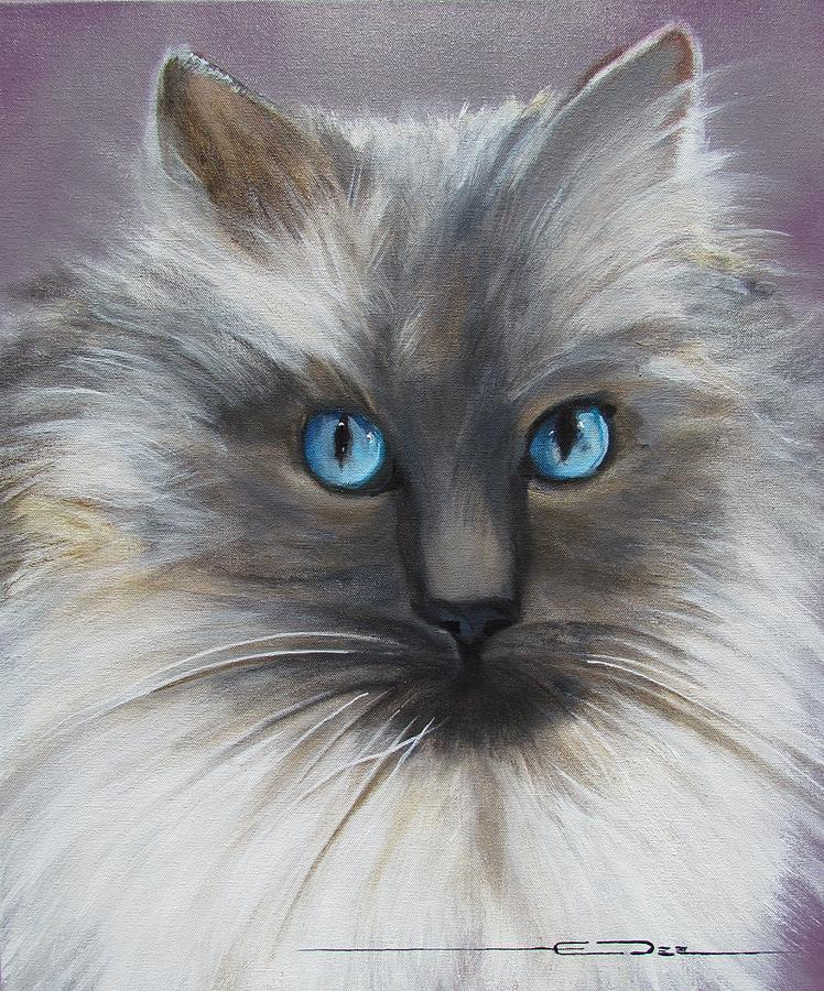 Animal Portraits Painting - Fluffy by Eric Dee