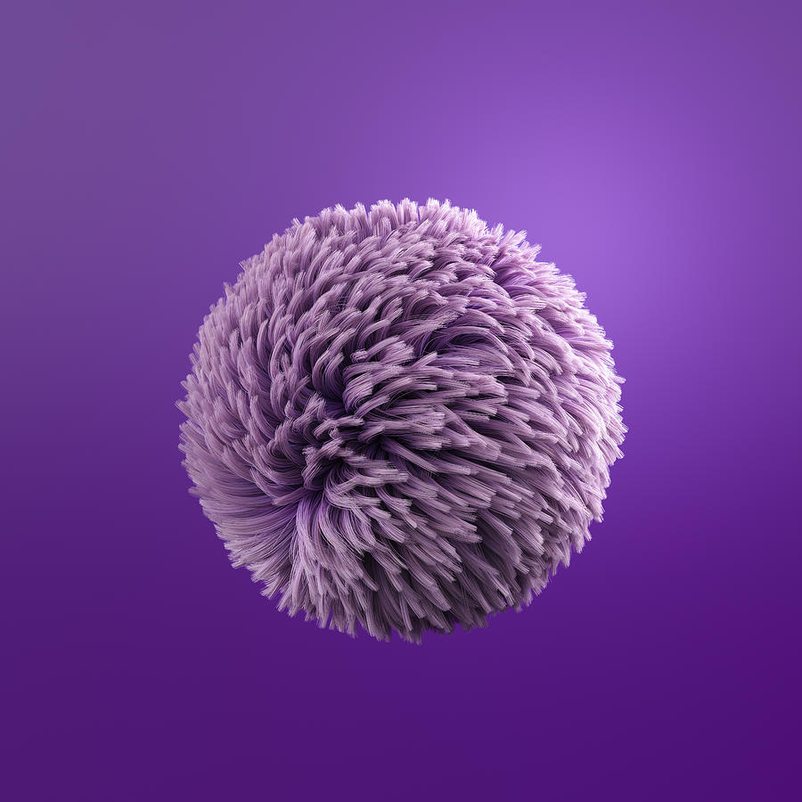 Fluffy purple ball, 3d rendering Drawing by Westend61