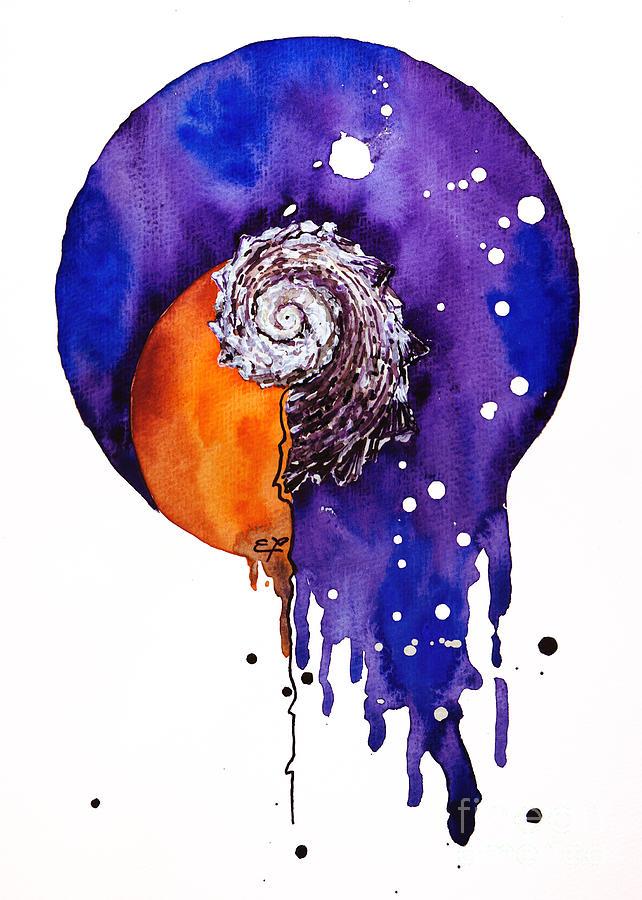 Beach Painting - Fluidity 16 - Mollusc Shell - Elena Yakubovich by Elena Yakubovich
