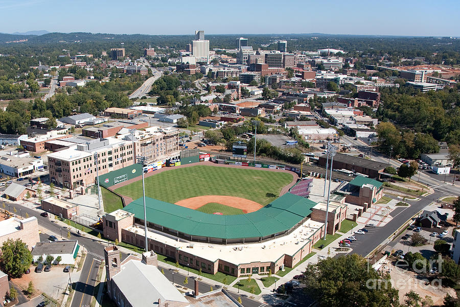 Aerial Photograph - Fluor Field At The West End Greenville by Bill Cobb