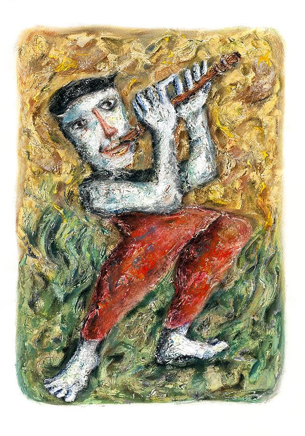 Vertical Painting - Flute Player by Nalidsa Sukprasert
