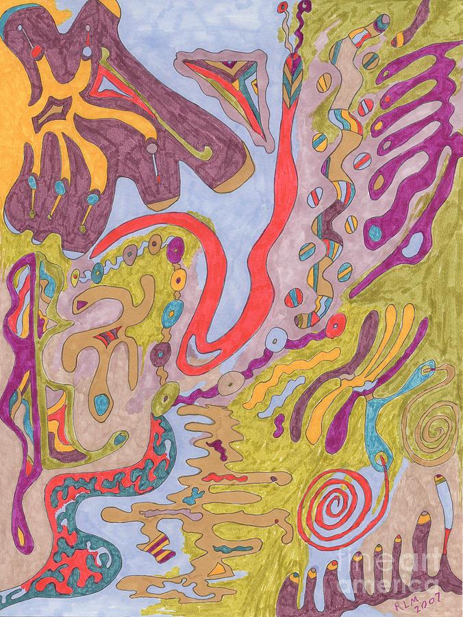 Butterfly Drawing - Flutterfly Land by Rebekah  McLeod