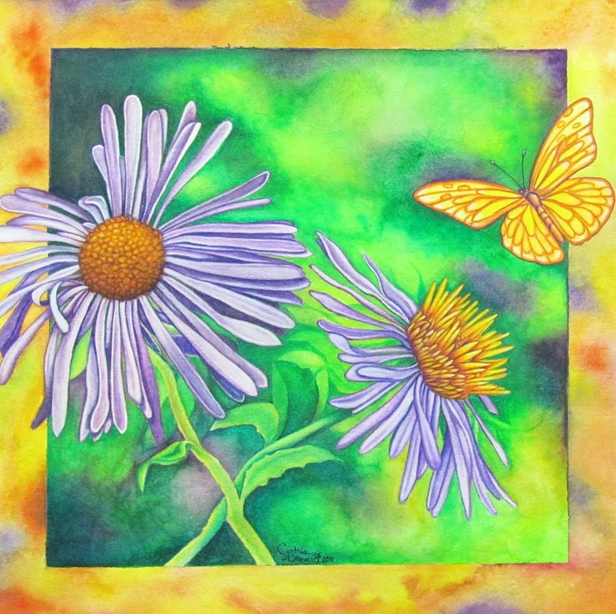 Butterfly Painting - Flutters And Flowers by Cynthia Stewart