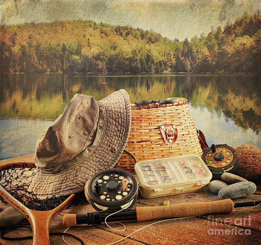 Activity Photograph - Fly Fishing Equipment  With Vintage Look by Sandra Cunningham