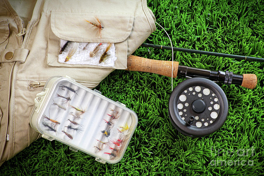 Activity Photograph - Fly Fishing Rod And Asessories by Sandra Cunningham