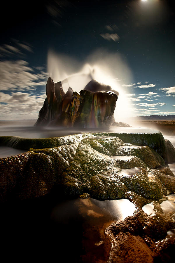 Fly Geyser Photograph - Fly Geyser @ Night by Deryk Baumgaertner