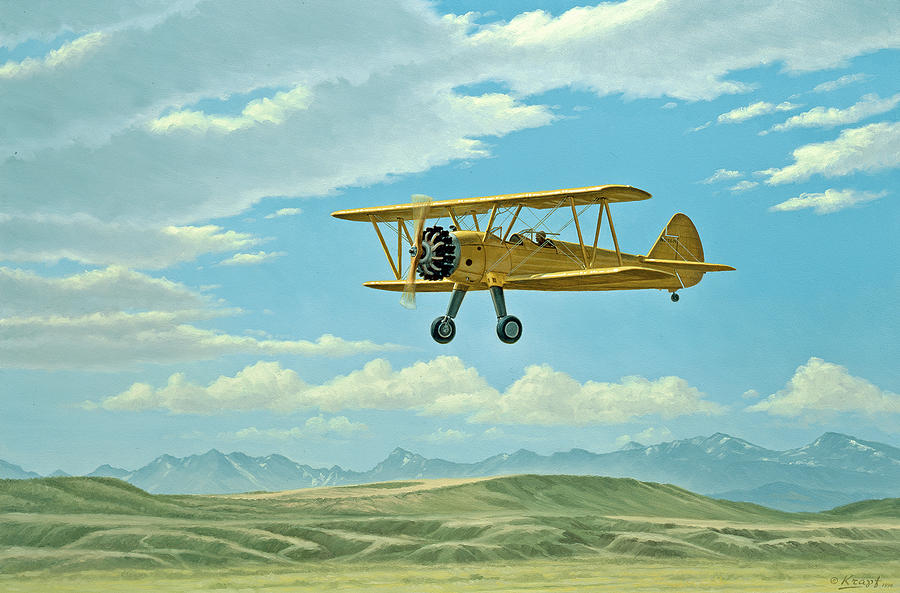Landscape Painting - Fly-in At Three Forks - Stearman   by Paul Krapf