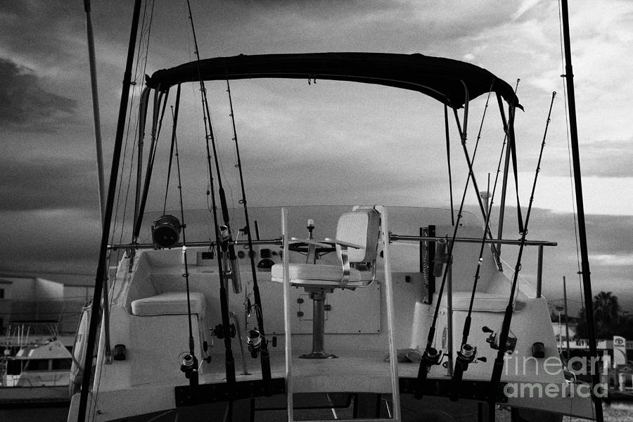 Charter Photograph - Flybridge On A Charter Fishing Boat In Early Morning Light Key West Florida Usa by Joe Fox