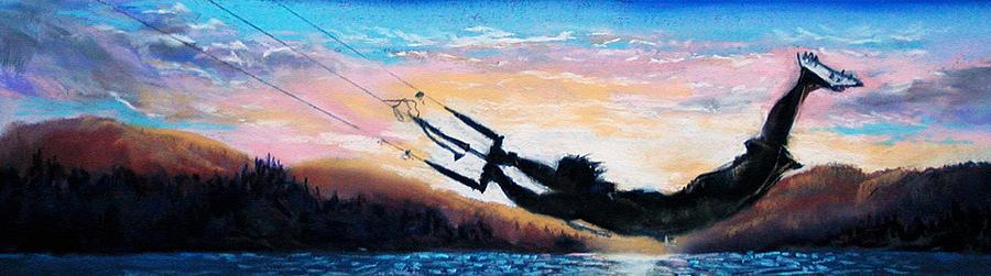 Kiteboarding Pastel - Flyin Kiteboarder by Lynee Sapere
