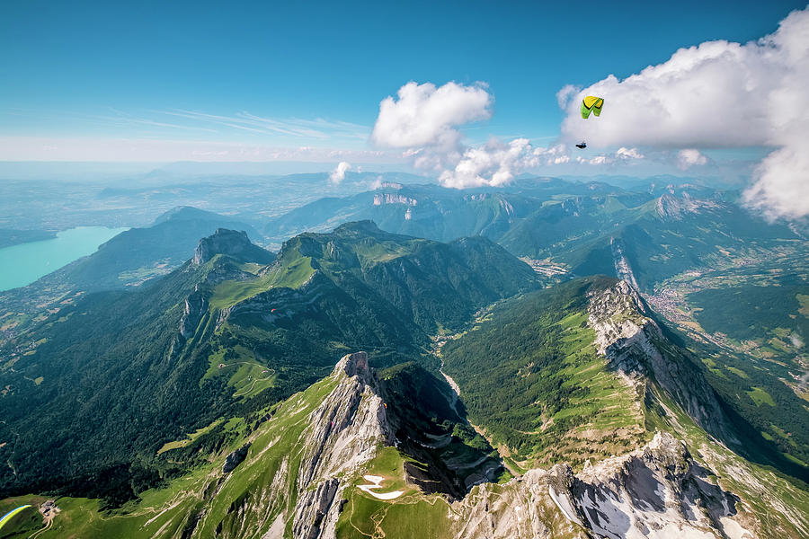 Action Photograph - Flying Above La Tournette With Francis Boehm bimbo by Tristan Shu