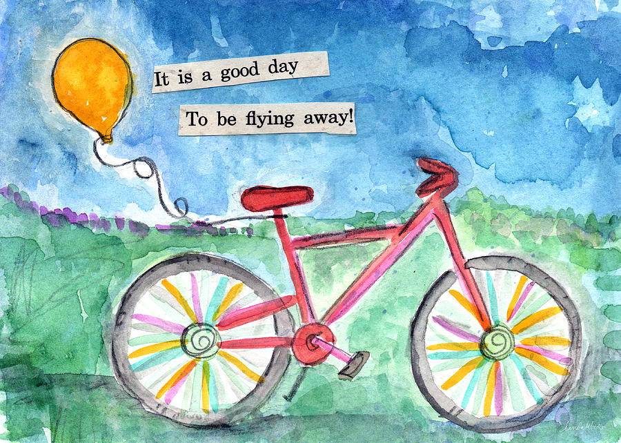 Bike Painting - Flying Away- Bicycle And Balloon Painting by Linda Woods