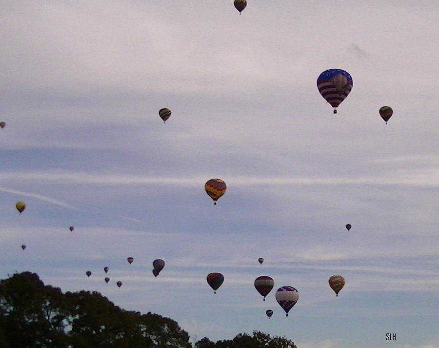 Balloons Photograph - Flying Balloons by Lee Hartsell
