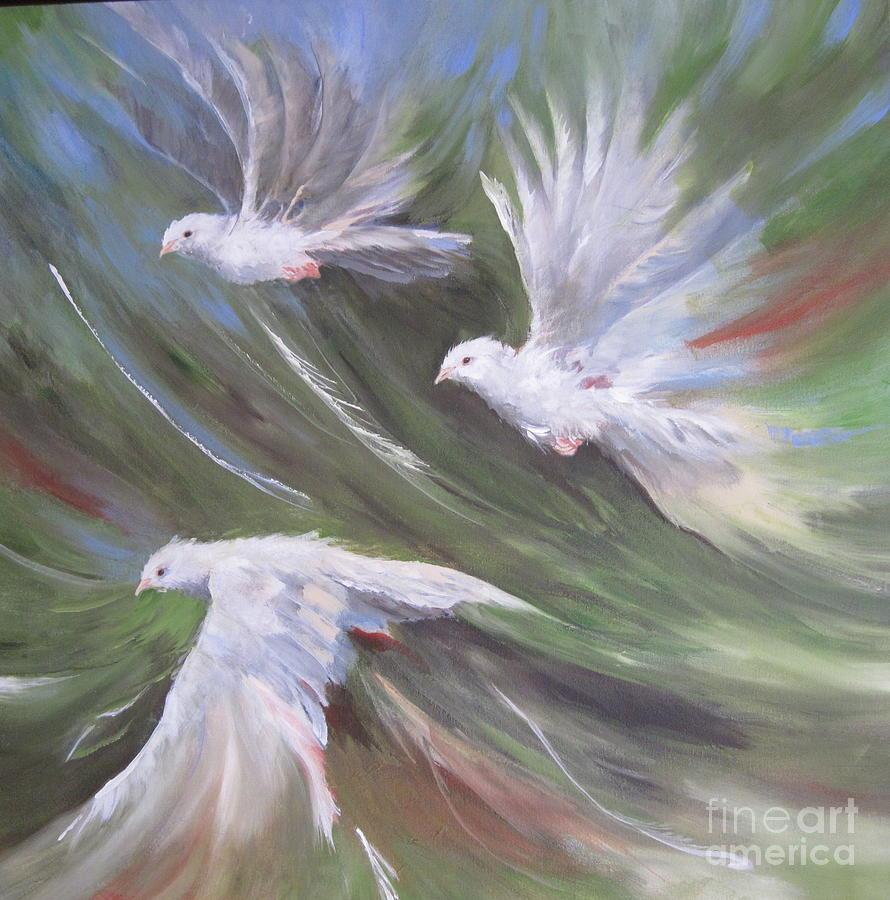 Bird Study Painting - Flying Birds by Paula Marsh