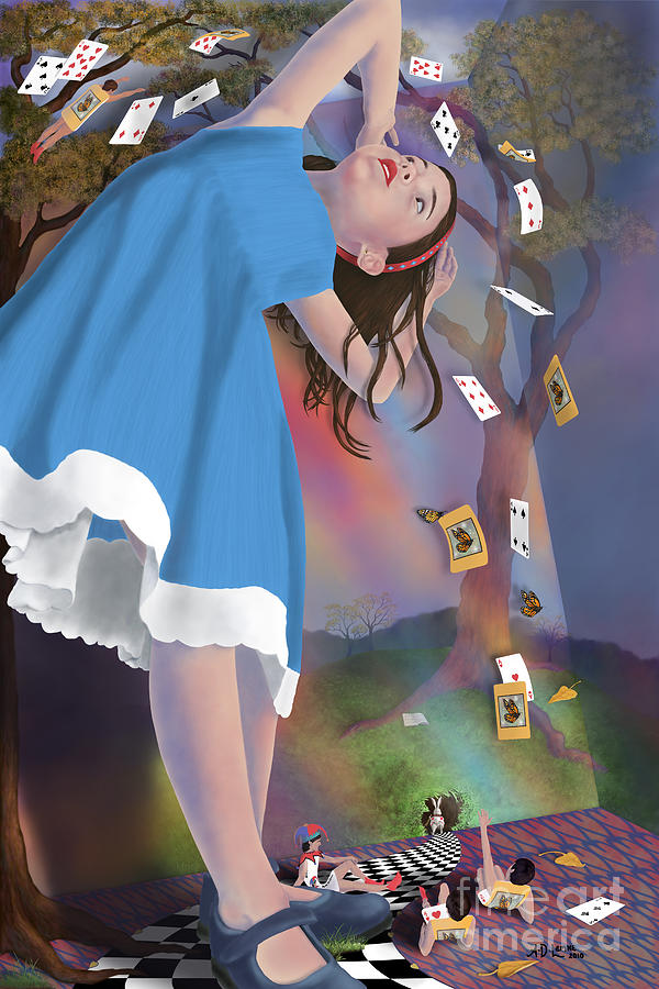 Alice In Wonderland Digital Art - Flying Cards Dissolve Alices Dream by Audra D Lemke