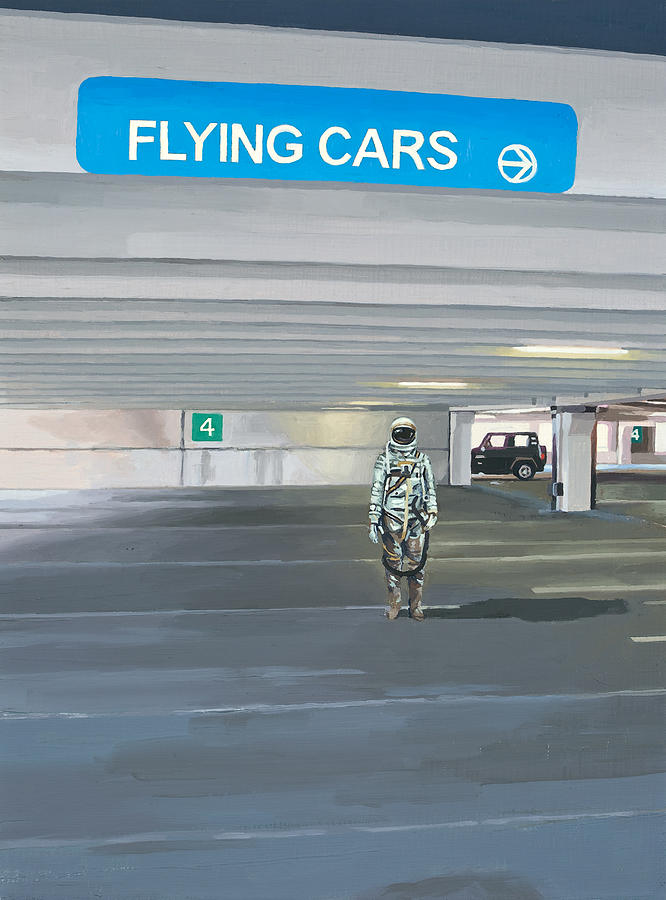 Astronaut Painting - Flying Cars To The Right by Scott Listfield