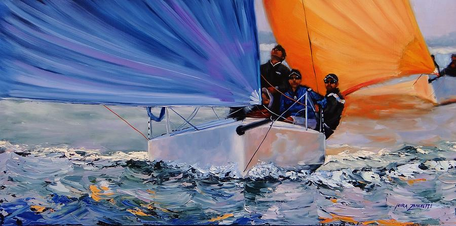 Sailing Painting - Flying Colors Two by Laura Lee Zanghetti