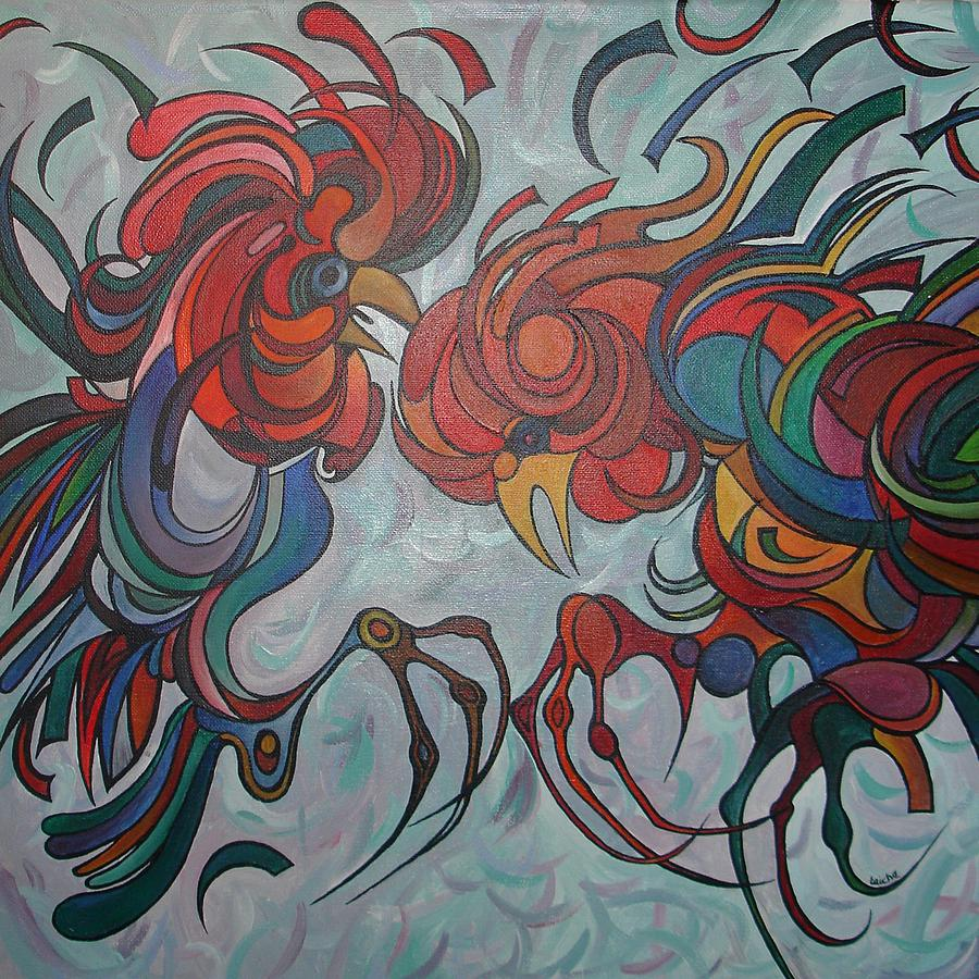Roosters Painting - Flying Feathers by Taiche Acrylic Art