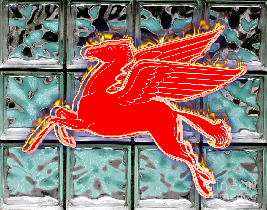 Red Digital Art - Flying Fire Horse by Keith Dillon