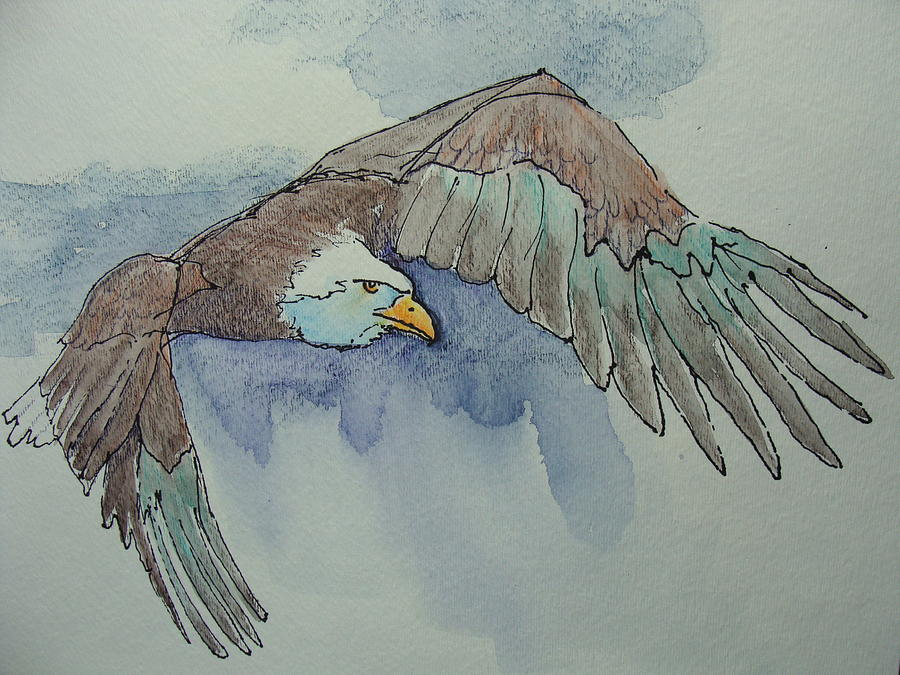 Eagle Painting - Flying Free by Judy Fischer Walton