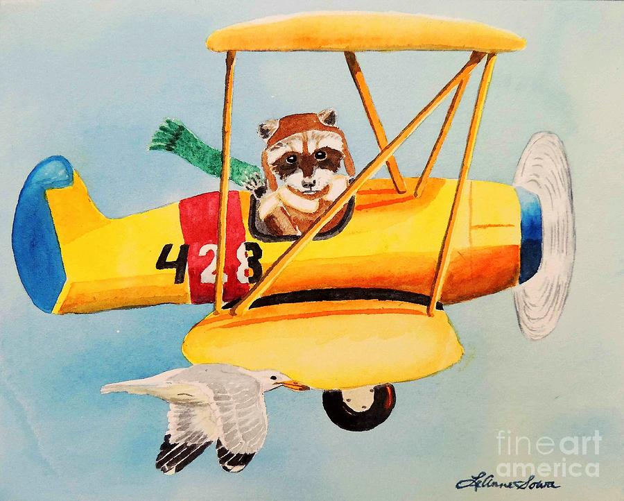 Biplane Painting - Flying Friends by LeAnne Sowa