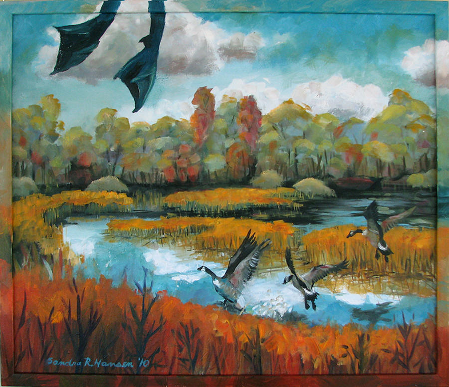 Geese Painting - Flying Geese Feet by Art Nomad Sandra  Hansen