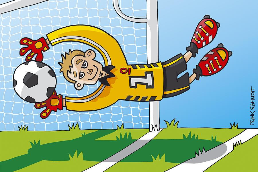 Flying Goalkeeper Catching Ball Digital Art By Frank Ramspott