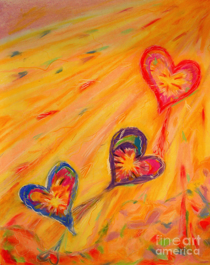 Colorful Heart Pastel - Flying Hearts by Kelly Athena