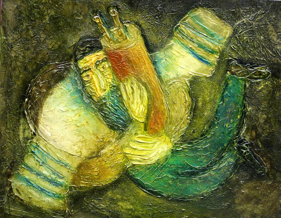 Judaica Painting Painting - Flying Jew by Leon Zernitsky