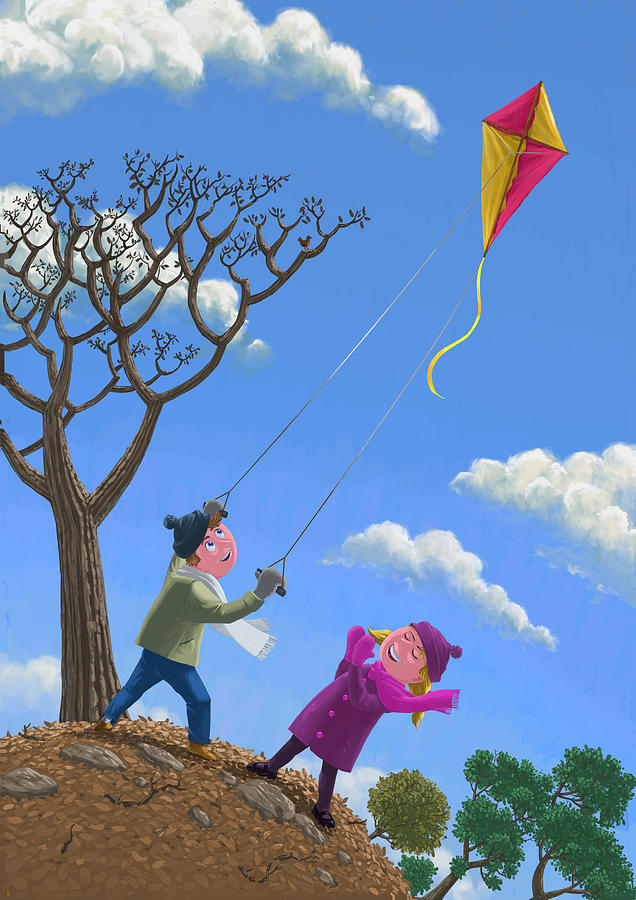 Kite Painting - Flying Kite On Windy Day by Martin Davey