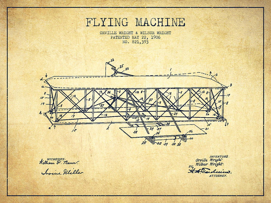 Flying Machine Patent Drawing From 1906 Vintage Drawing