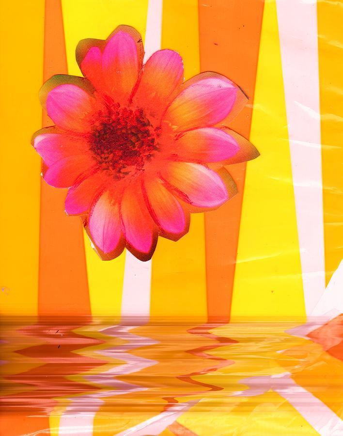 Flying Mixed Media - Flying Magic Bouncing Flower by Anne-Elizabeth Whiteway