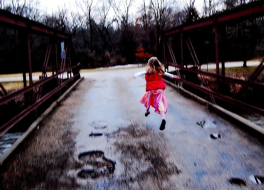 Little Girl Photograph - Flying On The Bridge by Jon Van Gilder