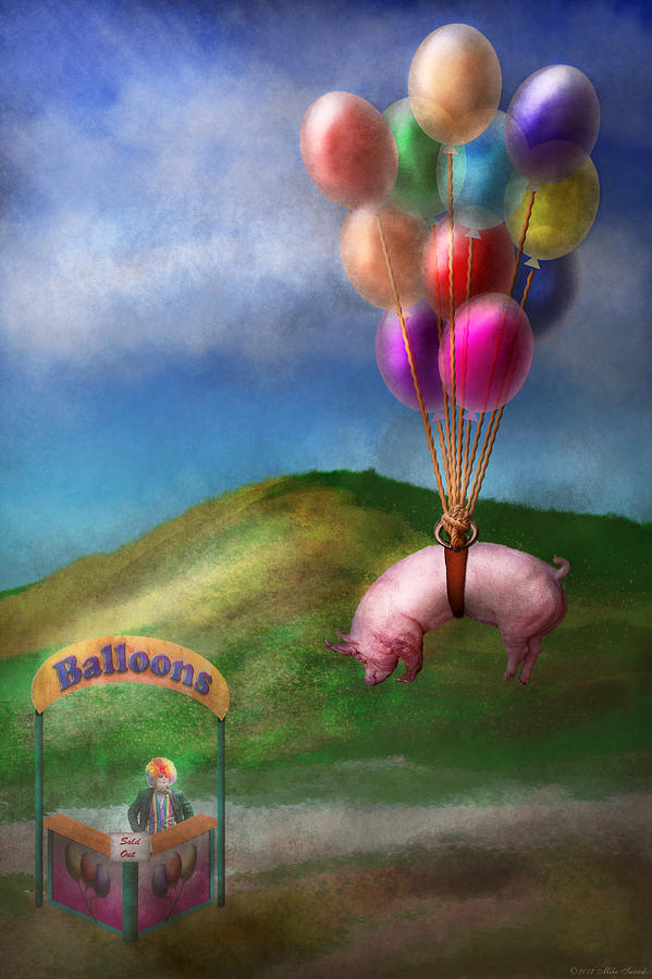 Pig Photograph - Flying Pig - Child - How I Wish I Were A Bird by Mike Savad