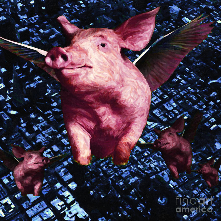 San Francisco Photograph - Flying Pigs Over San Francisco - Square by Wingsdomain Art and Photography
