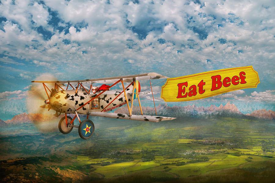 Self Digital Art - Flying Pigs - Plane - Eat Beef by Mike Savad