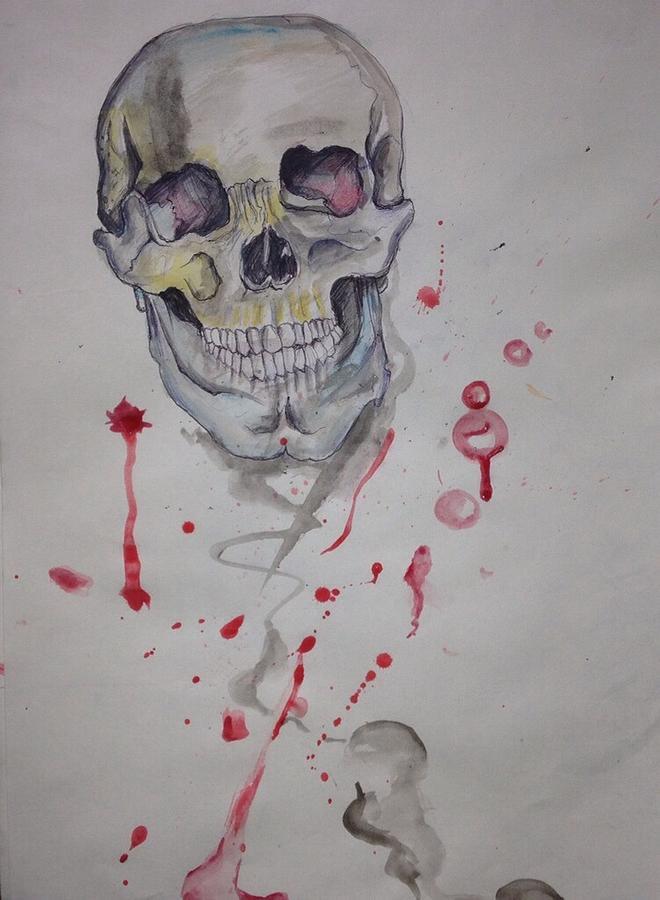 Human Painting - Flying Skull by Erik Franco