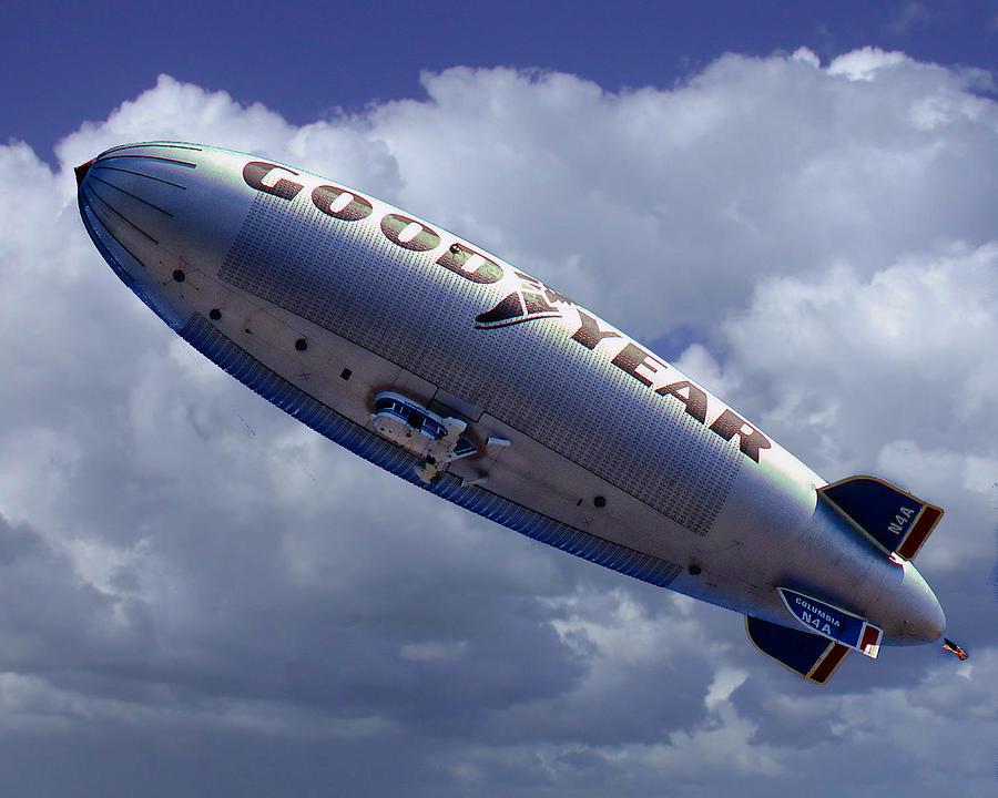 Goodyear Blimp Digital Art - Flying The Flag by Ken Evans