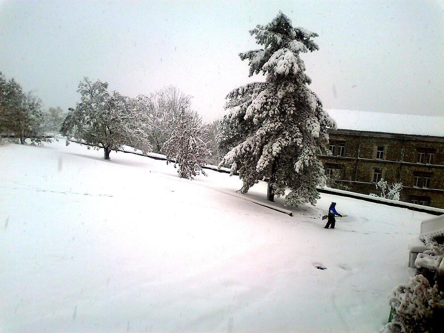 Snow Photograph - Flying With A Broom by S M