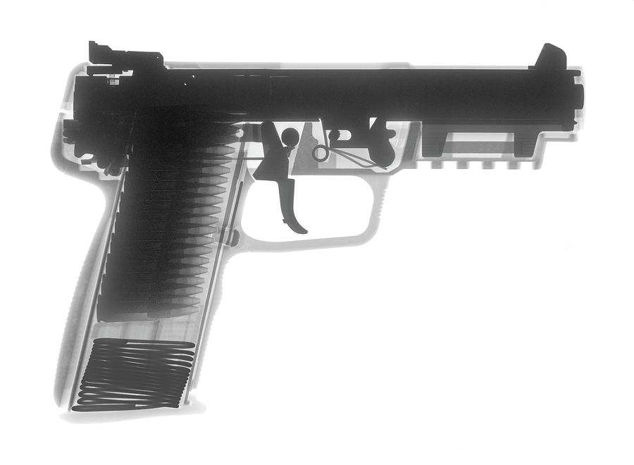 Antique Firearms Photograph - Fn 57 Hand Gun X-ray Photograph by Ray Gunz