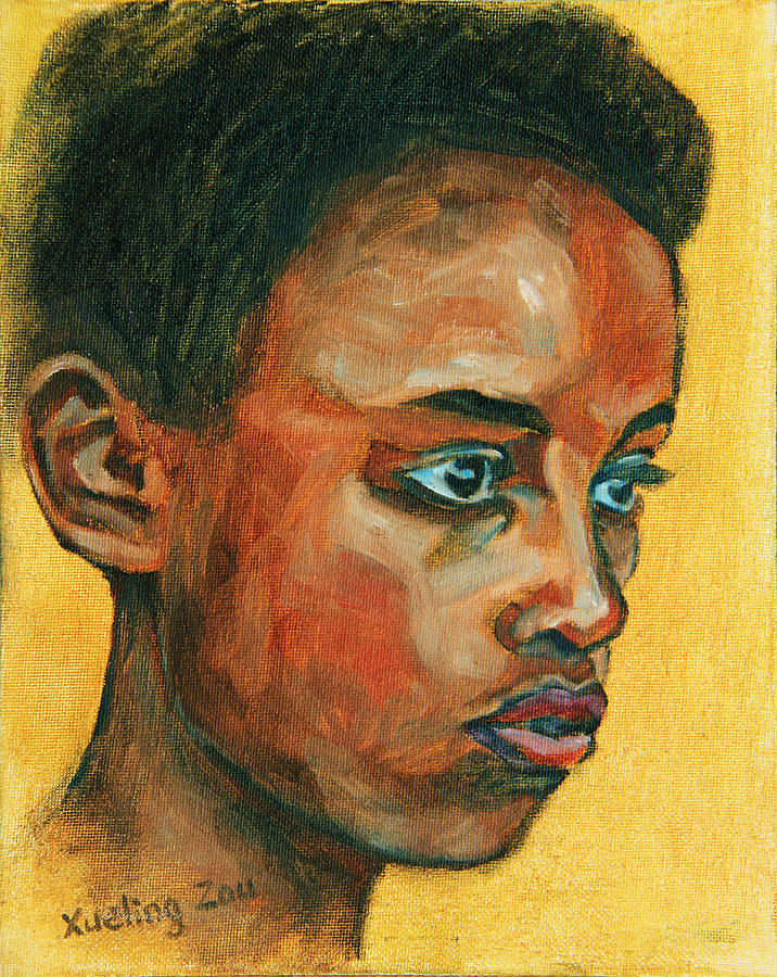 African American Painting - Focus by Xueling Zou