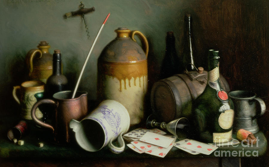 Drinking Painting - Foes In The Guise Of Friends by Edward George Handel Lucas