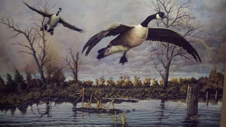 Geese Painting - Foever Together by Dan Parsons