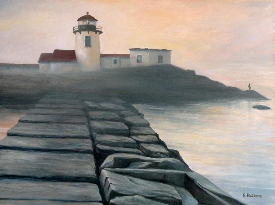 Lighthouse Painting - Fog Burning Off by Eileen Patten Oliver