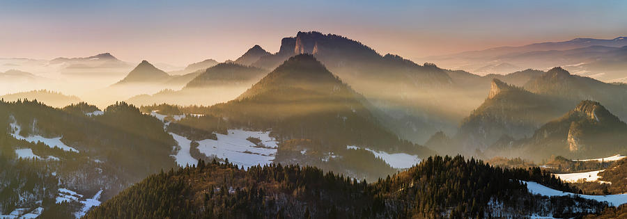 Horizontal Photograph - Fog Covered Mountains At Sunset by Panoramic Images