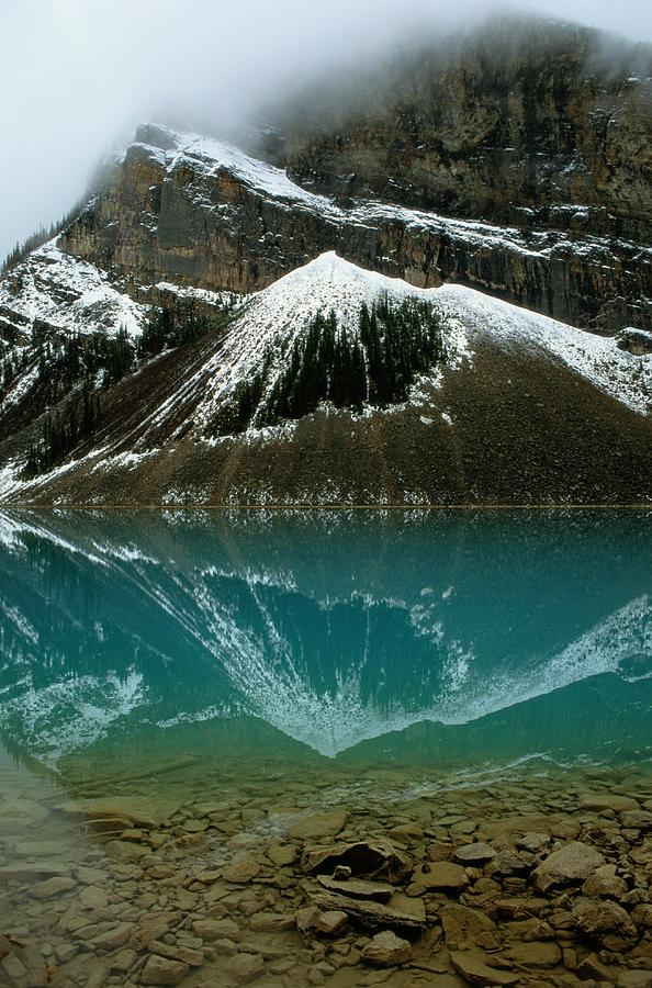 Lake Louise Photograph - Fog Has Lifted From Lake Louise by Raymond Gehman
