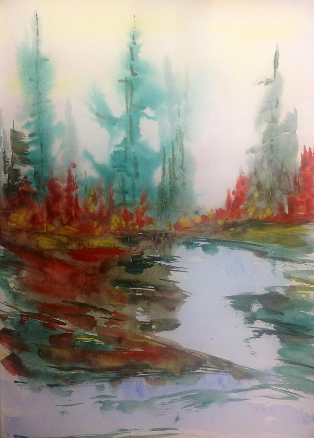 Fog In The Woods - Fall Painting by Desmond Raymond